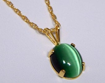 Green Cats Eye Necklace. Cats Eye in Gold Filled Setting. Cats Eye Cabochon.