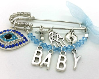Stroller pin, Evil eye pin, personalized baby pin, evil eye baby, hamsa pin, evil eye safety pin, baby pin, baby shower gift, unique gift