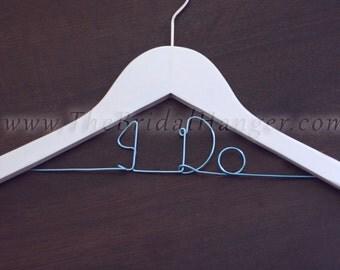 """DOUBLE Line Blue """"I Do"""" Wedding Hanger, Bridal Hanger, White Wooden Wedding Hanger, PERSONALISED, Uk Seller"""