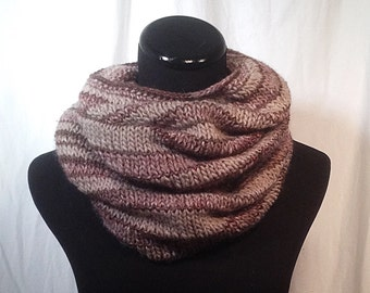Taupe and Wine Infinity Knit Scarf