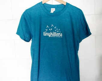 S - UNISEX - Sapphire - Official TinyKittens T-Shirt - 100% of proceeds support animal rescue!