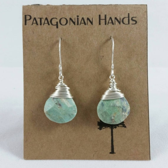 Handmade  Fine Silver (.999) and Sterling silver  earrings with wrapped Ruby in Fuchsite tear drop gemstone. Free shipping in the U. S.