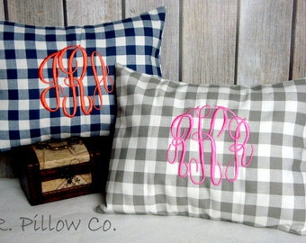 Monogrammed Lumbar Pillow. Plaid Pillow. Pillow Cover. Monogrammed Pillow. Lumbar Pillow Cover