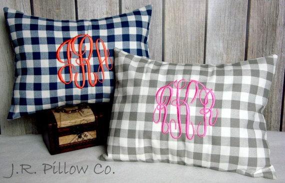 Monogrammed Lumbar Pillow. Plaid Pillow. Pillow Cover. Monogrammed Pillow. Lumbar Pillow Cover