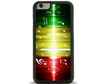 MUSIC NOTES RASTA iPhone Case, Samsung Galaxy Case. Protective Phone Cover