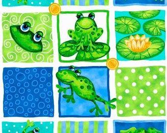 LAST PIECE!! - 5/8 yd - Frog Fabric - 100% Quilting Cotton