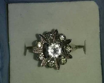 Clark and Coombs art deco authentic  Sterling ring glass crystal  stones