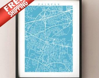 Fairfax, VA Map Print - Virginia Poster