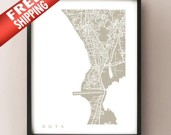 Kuta, Indonesia Map - Bali Art Print
