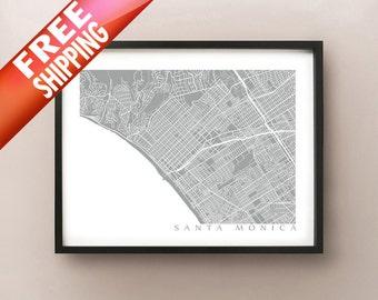 Santa Monica Map Art - Los Angeles County Poster Print