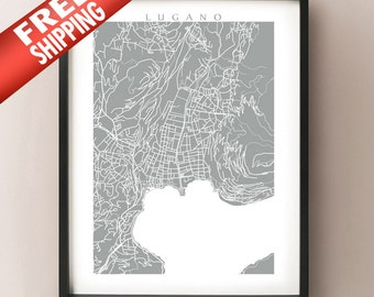 Lugano Map Print - Switzerland Poster
