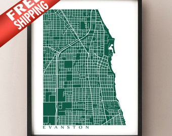 Evanston, IL Map Print - Illinois Poster