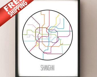 Shanghai, China - Minimalist Metro Subway Art Print - 上海轨道交通