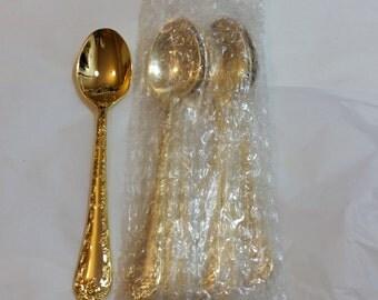 6 Wm Rogers Gold Flatware teaspoons NEW/Vintage 24K Gold Plated flatware Enchanted Rose in factory plastic dessert Silverware