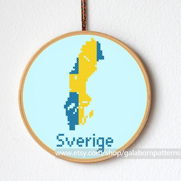 Sweden Cross Stitch Pattern Modern Cross Stitch PDF Counted - Sweden map pdf