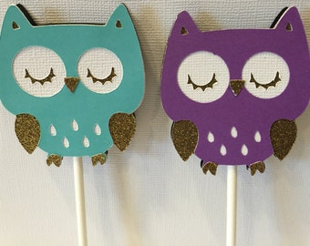Owl Theme Cupcake Toppers, Set of 12, Party Decorations, Owls, Glitter