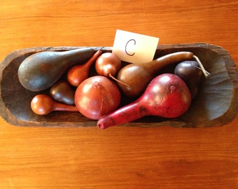 Wooden Dough Bowl with Gourds