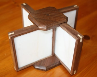 White marble coaster-Set of 4 with holder