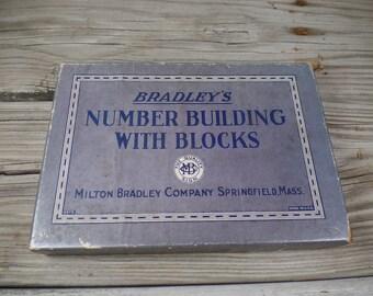 RARE 1926 Milton Bradley Number Building With Blocks Educational Game Vintage Milton Bradley Old Milton Bradley Wooden Blocks Number