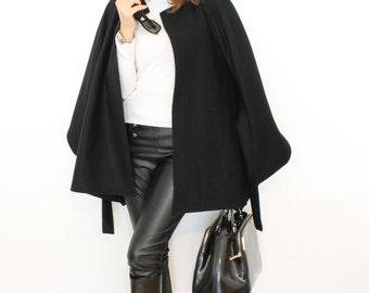 Black cape, black wool coat, belted wool coat, loose fitting elegant cape, women wool coat