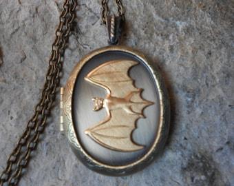Stunning Brass Bat Bronze Locket -  Vampire - Halloween - Vintage Look - Antiqued Look - Great Quality