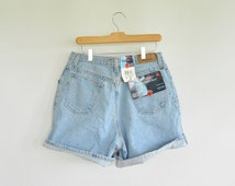 "Vintage Plus Size 16 Denim Shorts Zena 1980's New with Tags Deadstock  33"" High Waist Comfort Insert Smooth Shape Detail"