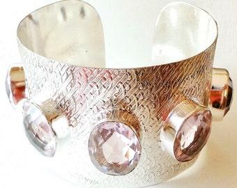 LARGE Gorgeous Pink Topaz 925 Sterling Silver Cuff Bracelet