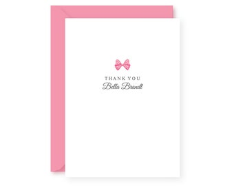 Personalized / Custom/ Thank You Cards / Stationery Set / Girls / Kids / Baby / Preppy Pink Bow / Boxed Set of 10 / Folded Notes & Envelopes