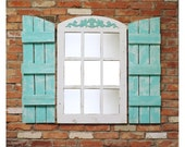 """23.5"""" wide X 36.5"""" tall Farmhouse Arched Window Pane Mirror (shutters sold separately) Reclaimed Wood"""