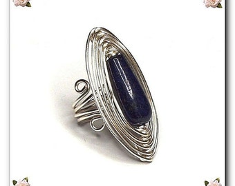 diy pdf Tutorial Wire Wrapping Jewelry Herringbone Ring,casual,occasion,wedding,gemstone,lapis lazuli,healing,Wicca,Reiki