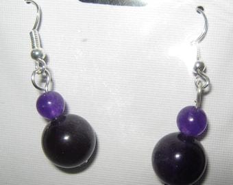 AMETHYST BEAD EARRINGS main bead size is 12 mm