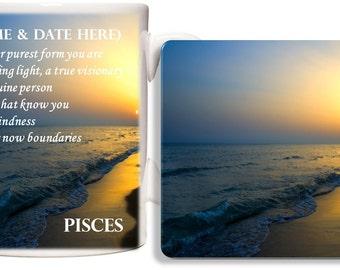 Personalised Pisces Mug & Coaster Gift Set - Zodiac Birth Star Sign