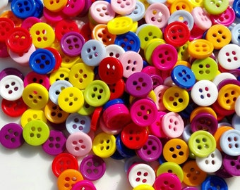50 Round buttons  Mixed colors  4 holes 9mm