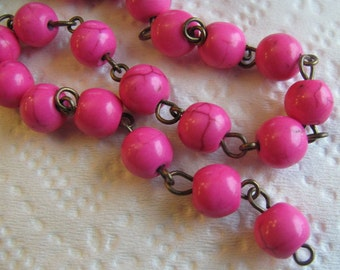 3 FEET - 8mm Rosary Chain - Hot Pink - Antique Brass Wire Wrapped Beaded Chain
