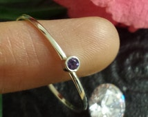 Natural Alexandrite 14 kt Gold Stacking Ring Yellow, White, or Rose Solid Gold Thin Slim Stackable Band