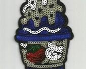 White Blue Ice Cream Snack Dessert Sequin Embroidered Iron on Patch Applique az415163