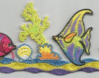 Fish Aquarium Yellow Sea Water Colorful Iron on Patch Applique 6123