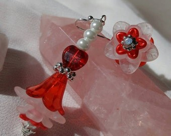 Ruby Red Fairy Flower Earrings