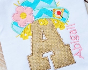 Personalized Girly Scarecrow Initial Applique Shirt or Onesie for Boy or Girl