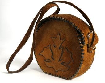 Vintage Brown Small Handbag, Vintage crossbody bag shoulder messenger bag, 70s Shoulder Bag, Brown Colored Woman Purse, Crossbody bag,