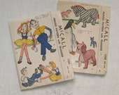 PAIR OF VINTAGE Doll and Stuffed Toy Patterns, McCalls, 1940's.