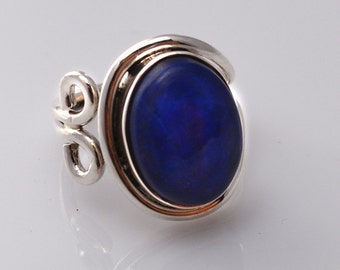 Lapis Lazuli Ring - natural stone - boho ring - blue stone ring - silver ring - sterling silver rings