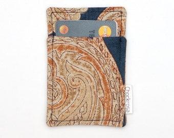 Front pocket wallet - Business card holder - Business card case - Thin wallet - Slim card wallet - Blue Beige Floral - Front Pocket wallet