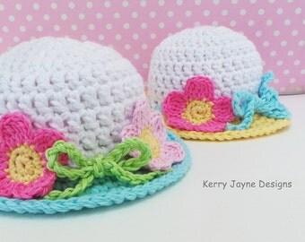 CROCHET HAT PATTERN - Summer Garden Hat pattern Baby sun hat pattern Quick and easy pattern Summer crochet Hat Pattern  With photo tutorial