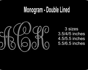 Rhinestone Monogram Iron-On Bling Applique - Set of 3 letters - Your choice of colors and size -  Wedding Bride Bridal Senior Graduation