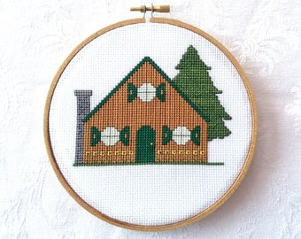 Cabin cross stitch pattern, PDF pattern, cozy cottage, house embroidery, home needlepoint, digital download, printable log cabin