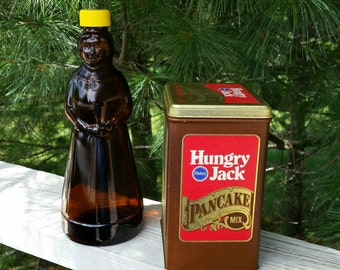 Mrs. Butterworth Amber Syrup Bottle & Hungry Jack Pancake Mix Tin