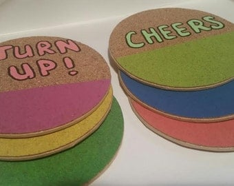 Neon cork painted coasters
