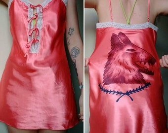 Lacey Pink Lingerie With Handpainted Wolf