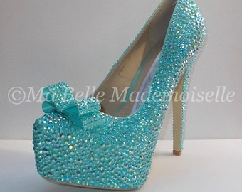 Blue Bow Wedding Shoes, Bling Shoes, Crystal Bridal Shoes, Wedding Shoes, Rhinestone Wedding Shoes